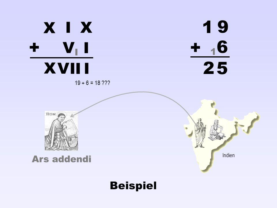 Ars addendi X I V X I I V II X 1 9 6 5 1 + + 2 I Rom Indien 19 + 6 = 18 ??? Beispiel