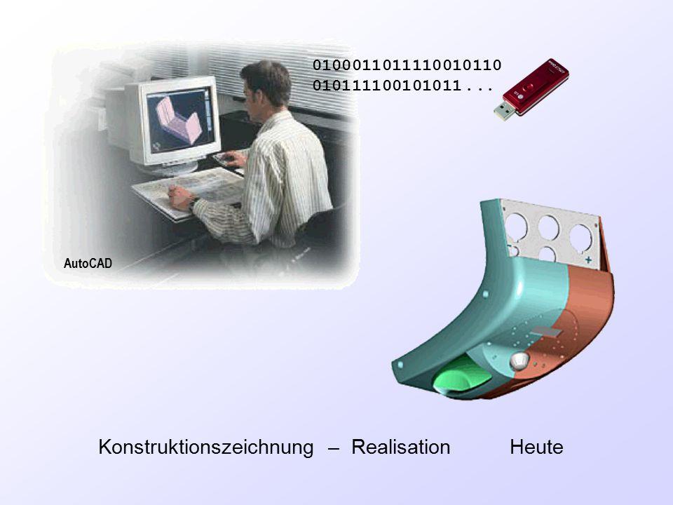 Konstruktionszeichnung – Realisation Heute 0100011011110010110 010111100101011... AutoCAD