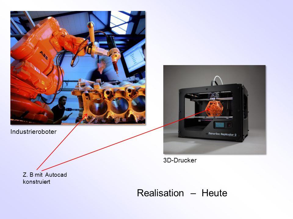 Realisation – Heute Z. B mit Autocad konstruiert 3D-Drucker Industrieroboter