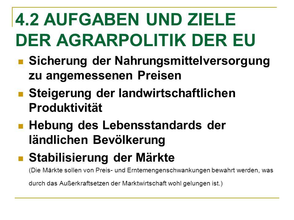 4.2 AUFGABEN UND ZIELE DER AGRARPOLITIK DER EU Sicherung der Nahrungsmittelversorgung zu angemessenen Preisen Steigerung der landwirtschaftlichen Prod