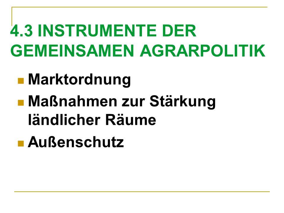 4.3 INSTRUMENTE DER GEMEINSAMEN AGRARPOLITIK Marktordnung Maßnahmen zur Stärkung ländlicher Räume Außenschutz