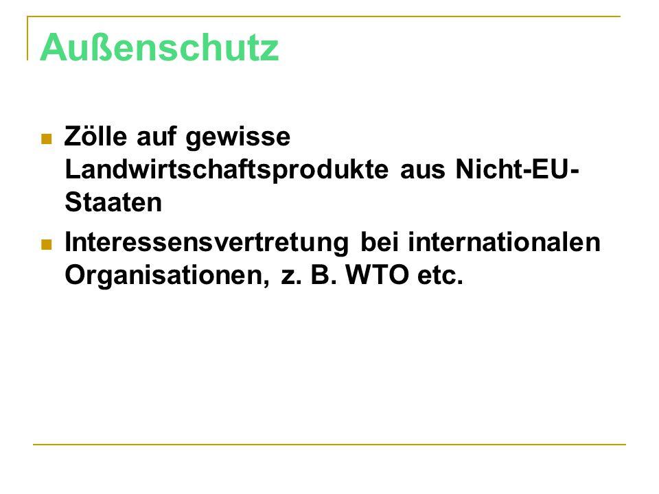 Außenschutz Zölle auf gewisse Landwirtschaftsprodukte aus Nicht-EU- Staaten Interessensvertretung bei internationalen Organisationen, z. B. WTO etc.