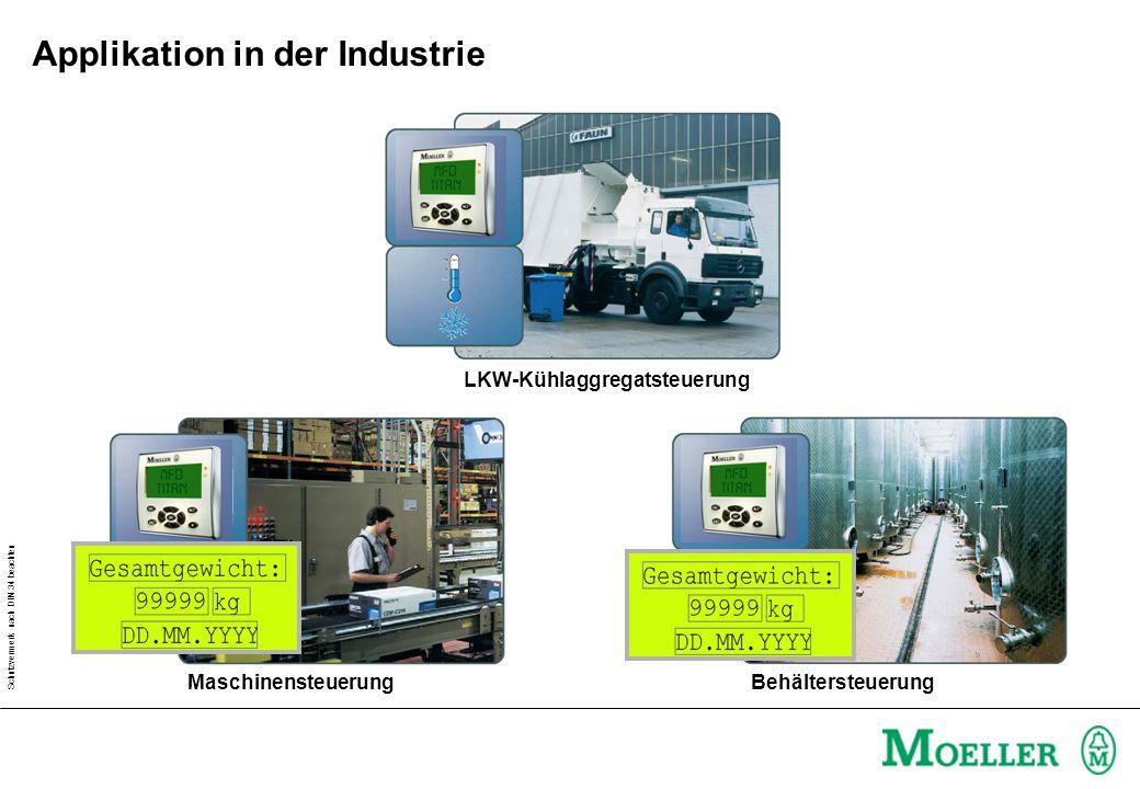 Schutzvermerk nach DIN 34 beachten LKW-Kühlaggregatsteuerung MaschinensteuerungBehältersteuerung Applikation in der Industrie