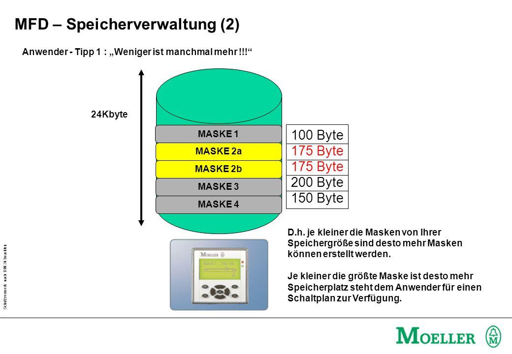 """Schutzvermerk nach DIN 34 beachten Anwender - Tipp 1 : """"Weniger ist manchmal mehr !!!"""" 24Kbyte MASKE 4 MASKE 3 MASKE 1 100 Byte 175 Byte 200 Byte 150"""