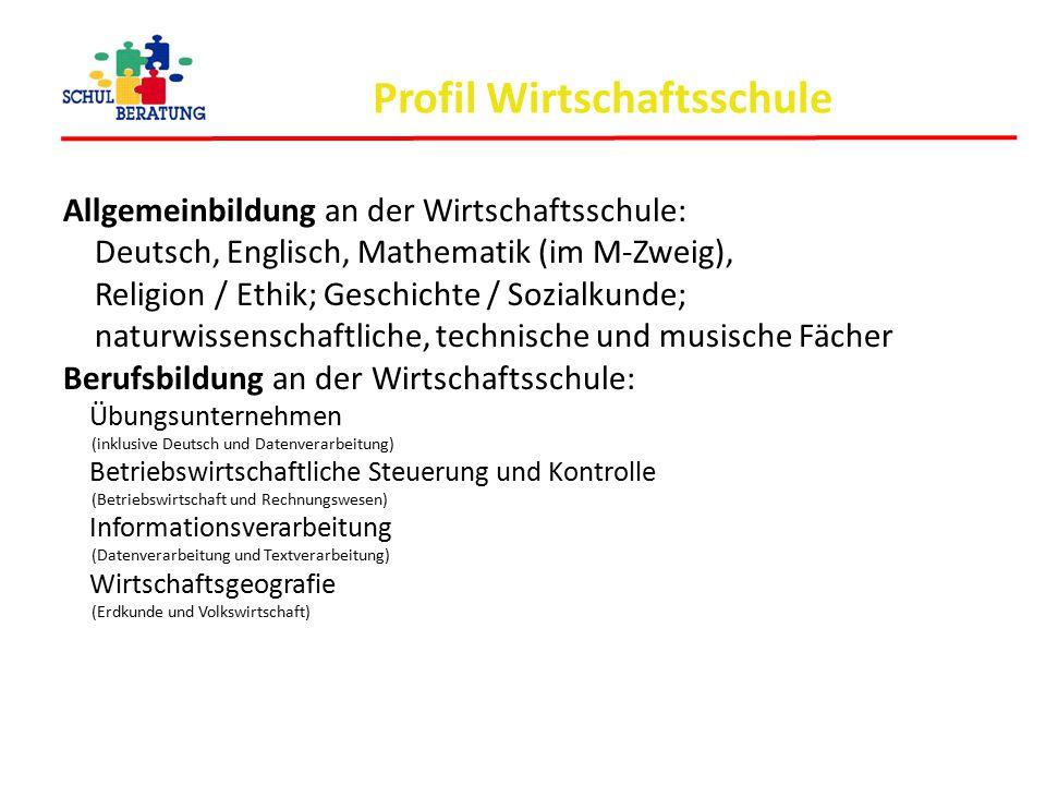 Profil Wirtschaftsschule Allgemeinbildung an der Wirtschaftsschule: Deutsch, Englisch, Mathematik (im M-Zweig), Religion / Ethik; Geschichte / Sozialk