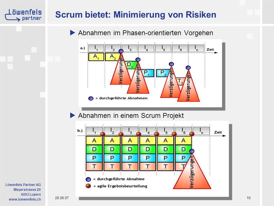 26.06.07Informatik in neuer Dimension10 Löwenfels Partner AG Meyerstrasse 20 6003 Luzern www.loewenfels.ch Scrum bietet: Minimierung von Risiken  Abnahmen im Phasen-orientierten Vorgehen  Abnahmen in einem Scrum Projekt