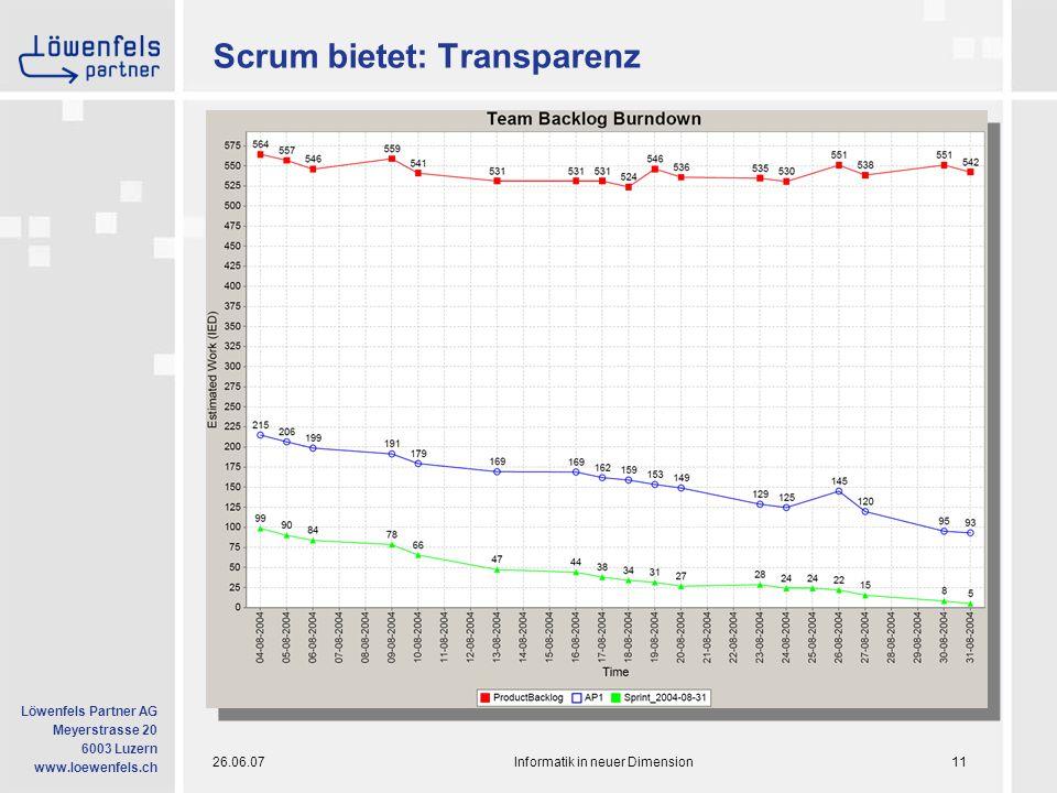 26.06.07Informatik in neuer Dimension11 Löwenfels Partner AG Meyerstrasse 20 6003 Luzern www.loewenfels.ch Scrum bietet: Transparenz
