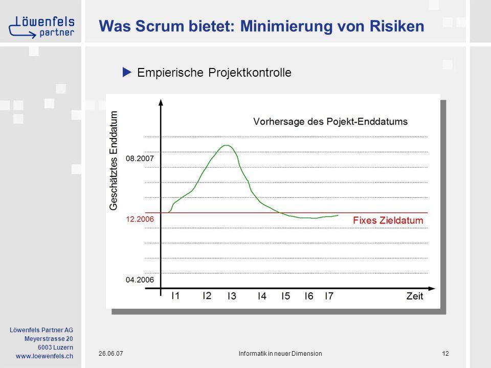 26.06.07Informatik in neuer Dimension12 Löwenfels Partner AG Meyerstrasse 20 6003 Luzern www.loewenfels.ch Was Scrum bietet: Minimierung von Risiken  Empierische Projektkontrolle