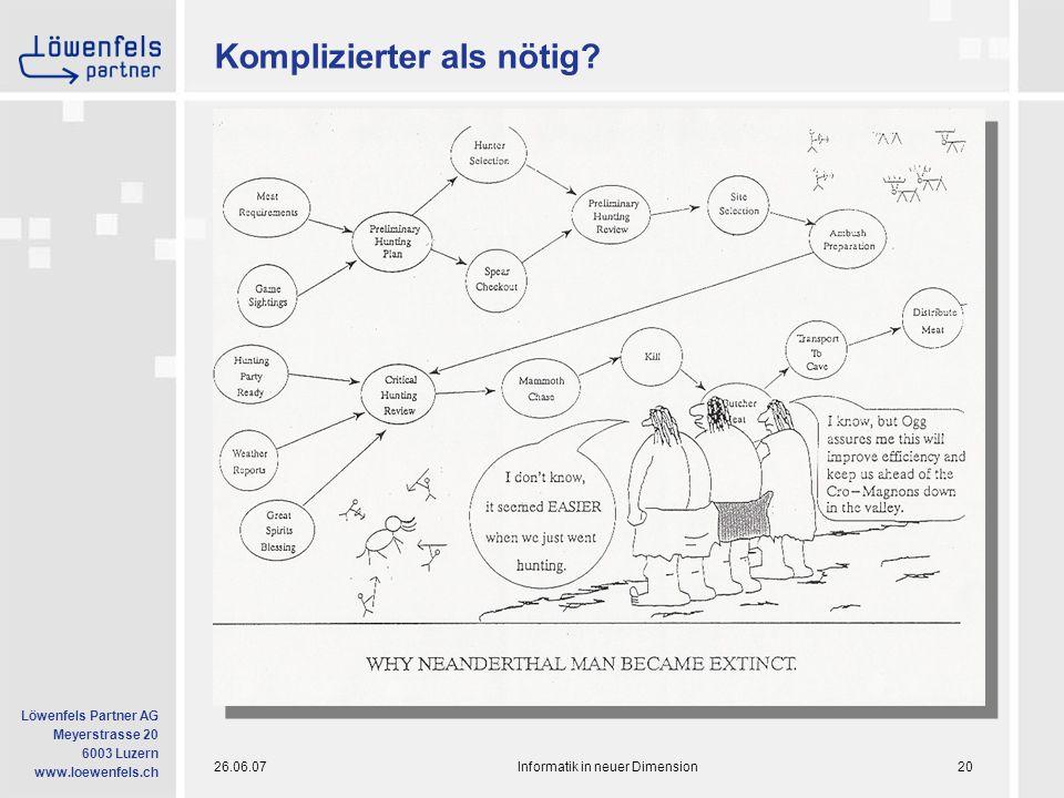 26.06.07Informatik in neuer Dimension20 Löwenfels Partner AG Meyerstrasse 20 6003 Luzern www.loewenfels.ch Komplizierter als nötig?