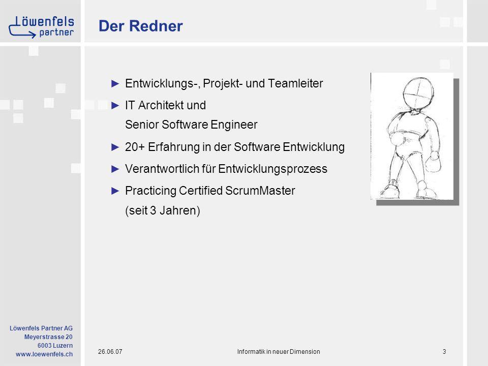 26.06.07Informatik in neuer Dimension14 Löwenfels Partner AG Meyerstrasse 20 6003 Luzern www.loewenfels.ch Scrum bietet: Kollaboration II