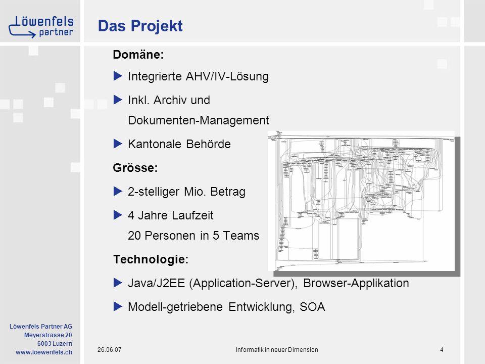 26.06.07Informatik in neuer Dimension15 Löwenfels Partner AG Meyerstrasse 20 6003 Luzern www.loewenfels.ch Scrum: People Tools  Gemeinsame Aktivitäten: - Sprint-Planung - Schätzungen - Tägliches Standup-Meeting (max.