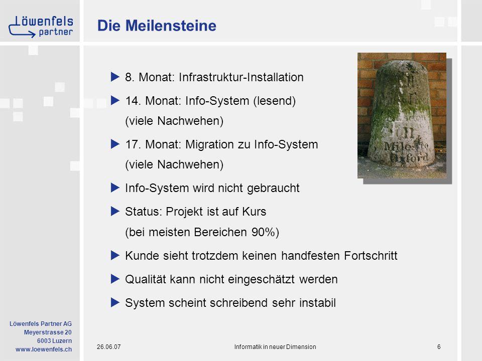 26.06.07Informatik in neuer Dimension7 Löwenfels Partner AG Meyerstrasse 20 6003 Luzern www.loewenfels.ch Die Probleme  Wo steht das Projekt wirklich.