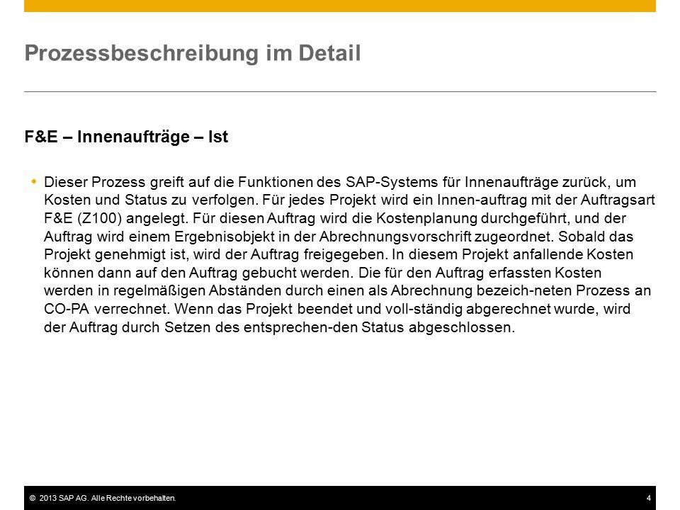 ©2013 SAP AG. Alle Rechte vorbehalten.4 Prozessbeschreibung im Detail F&E – Innenaufträge – Ist  Dieser Prozess greift auf die Funktionen des SAP-Sys
