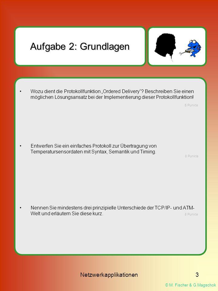 """© M. Fischer & G.Magschok Netzwerkapplikationen3 Aufgabe 2: Grundlagen Wozu dient die Protokollfunktion """"Ordered Delivery""""? Beschreiben Sie einen mögl"""