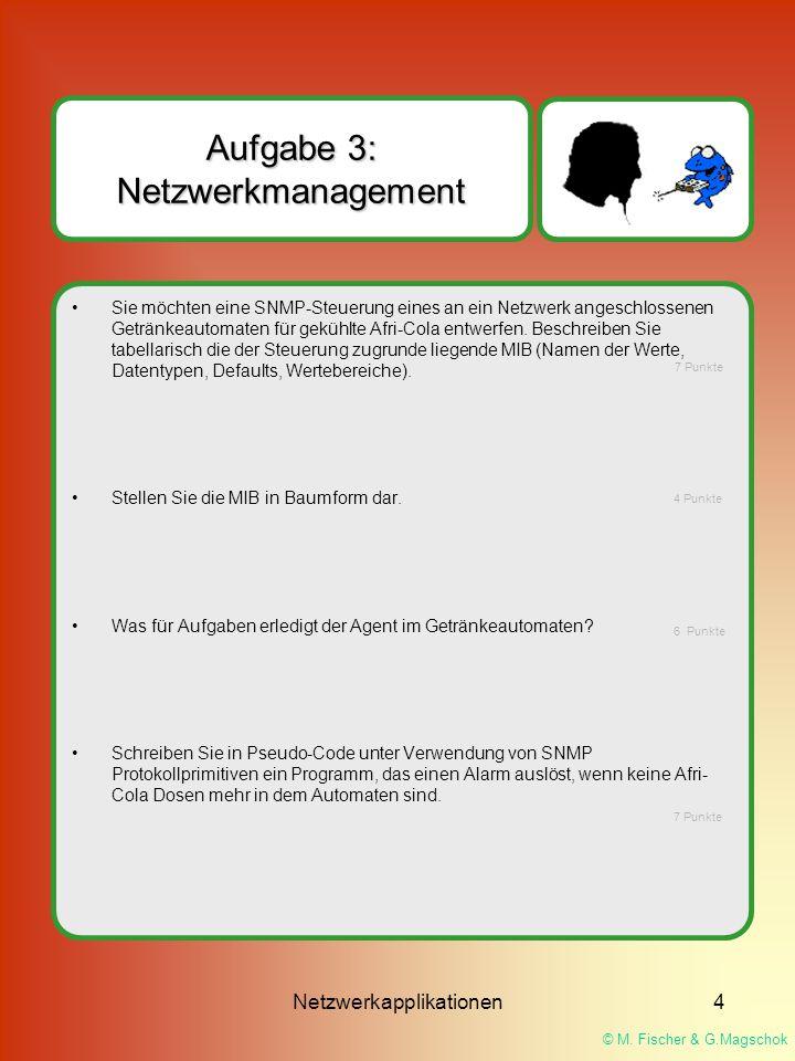 © M. Fischer & G.Magschok Netzwerkapplikationen4 Aufgabe 3: Netzwerkmanagement Sie möchten eine SNMP-Steuerung eines an ein Netzwerk angeschlossenen G