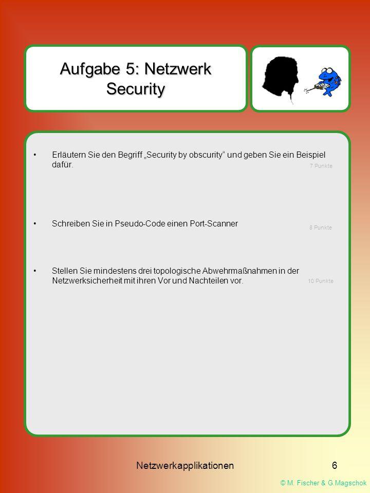 """© M. Fischer & G.Magschok Netzwerkapplikationen6 Aufgabe 5: Netzwerk Security Erläutern Sie den Begriff """"Security by obscurity"""" und geben Sie ein Beis"""