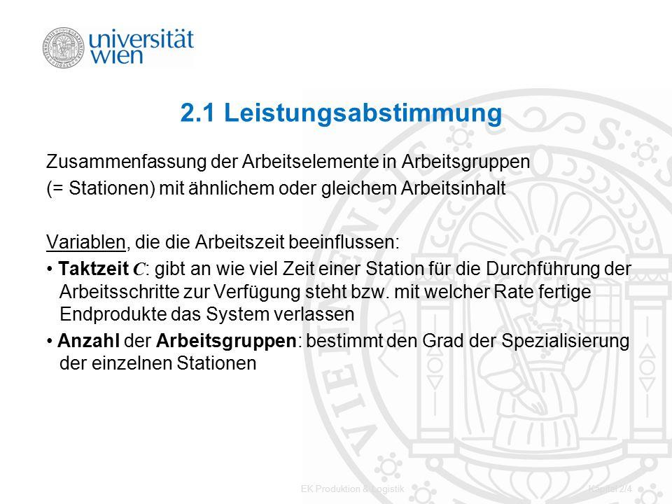 EK Produktion & LogistikKapitel 2/4 2.1 Leistungsabstimmung Zusammenfassung der Arbeitselemente in Arbeitsgruppen (= Stationen) mit ähnlichem oder gle