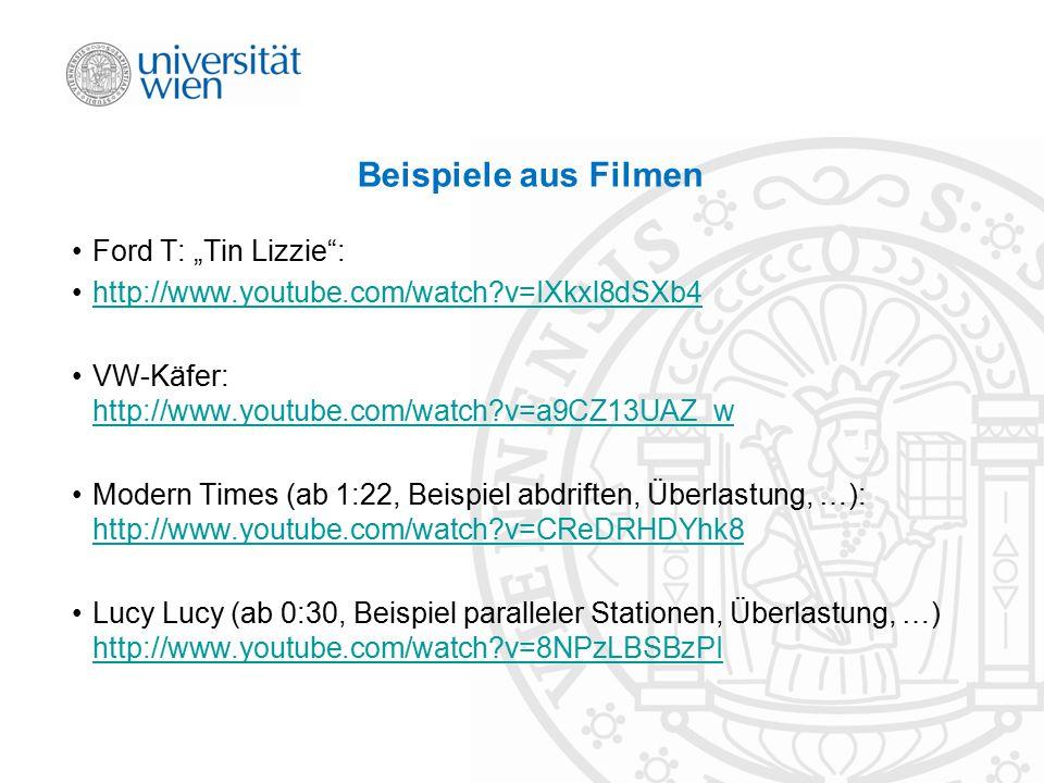 "Beispiele aus Filmen Ford T: ""Tin Lizzie"": http://www.youtube.com/watch?v=IXkxl8dSXb4 VW-Käfer: http://www.youtube.com/watch?v=a9CZ13UAZ_w http://www."