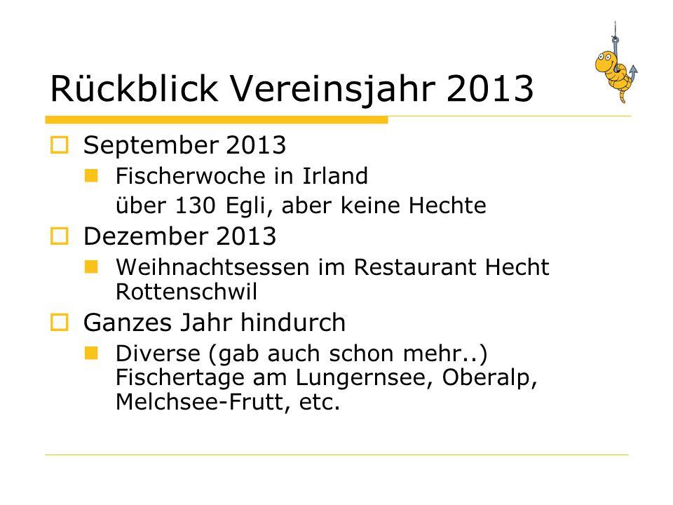 Jahresprogramm 2014  Generalversammlung  9.Fischermeisterschaft (16./17.