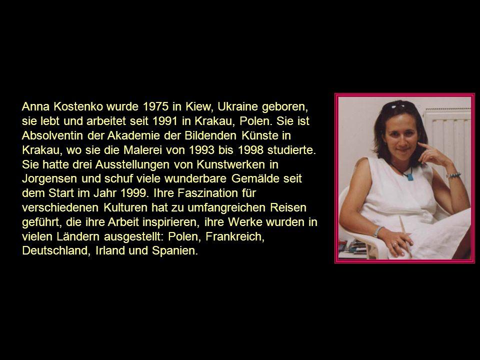 Anna Kostenko wurde 1975 in Kiew, Ukraine geboren, sie lebt und arbeitet seit 1991 in Krakau, Polen.