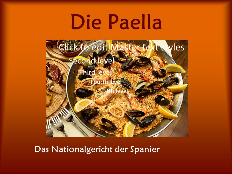 Die Paella Click to edit Master text styles – Second level Third level – Fourth level » Fifth level Das Nationalgericht der Spanier