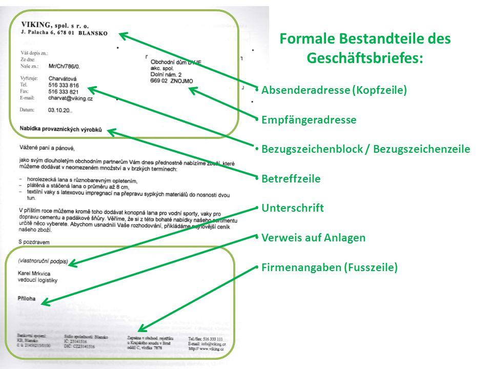 Höflichkeits- Bestandteile des Brieftextes: Anrede Einleitende Formel Abschlussformel Grussformel