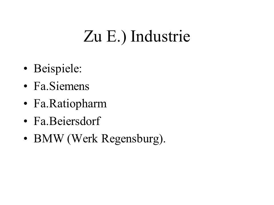 Zu E.) Industrie Beispiele: Fa.Siemens Fa.Ratiopharm Fa.Beiersdorf BMW (Werk Regensburg).
