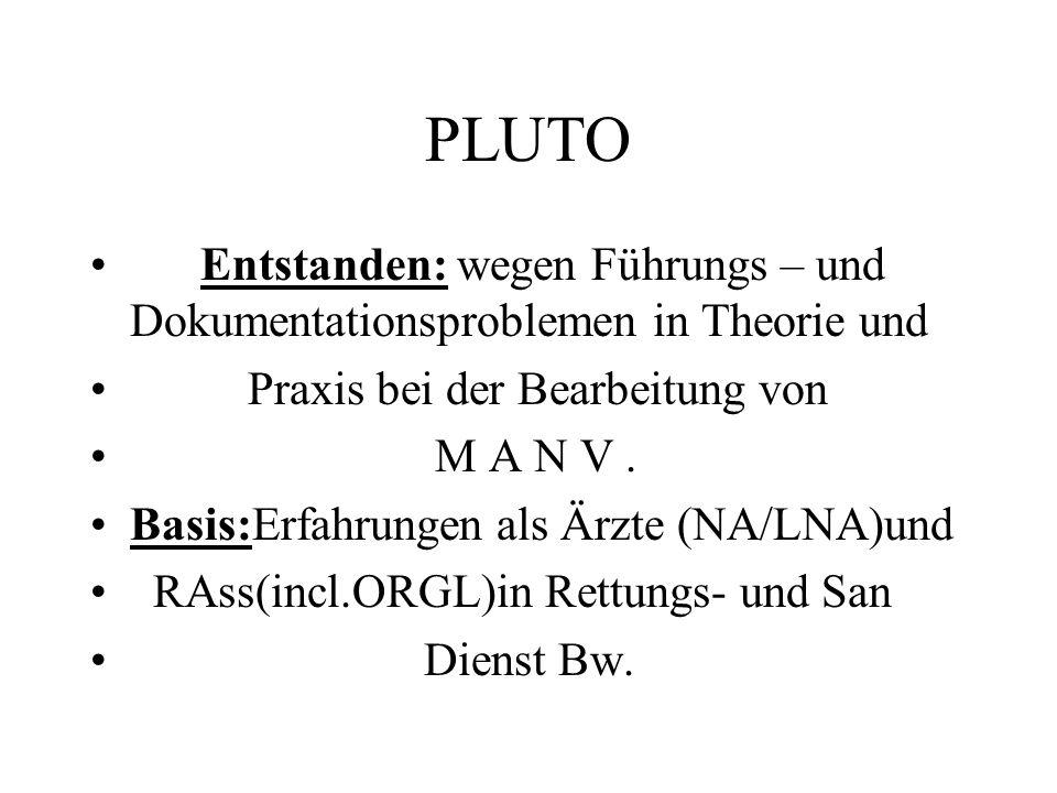PLUTO Entstanden: wegen Führungs – und Dokumentationsproblemen in Theorie und Praxis bei der Bearbeitung von M A N V.