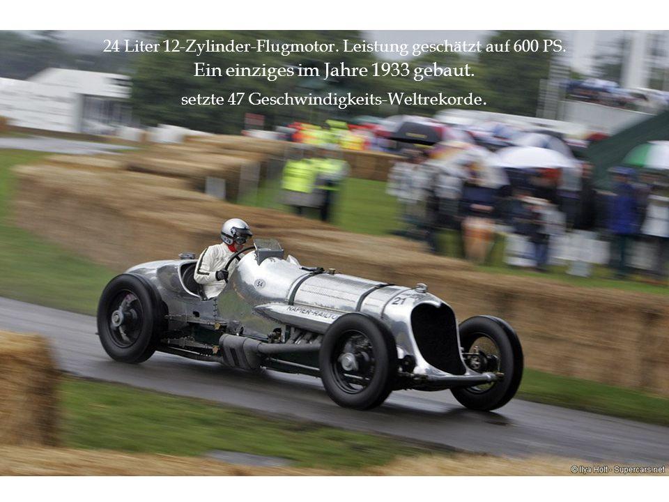 24 Liter 12-Zylinder-Flugmotor. Leistung geschätzt auf 600 PS. Ein einziges im Jahre 1933 gebaut. setzte 47 Geschwindigkeits-Weltrekorde.