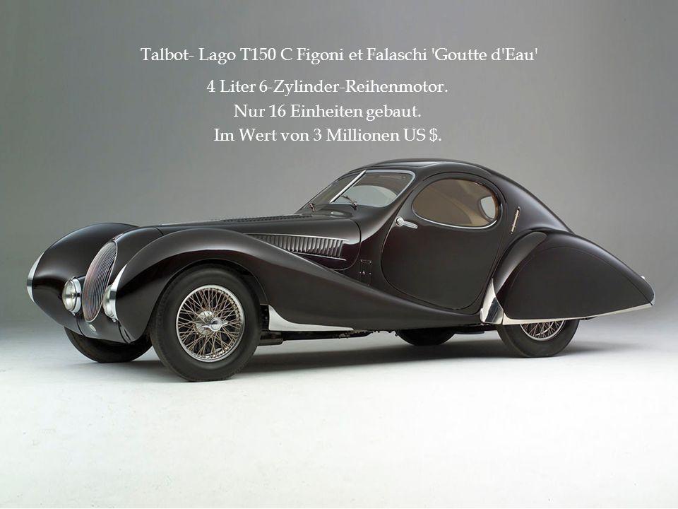 Talbot- Lago T150 C Figoni et Falaschi 'Goutte d'Eau' 4 Liter 6-Zylinder-Reihenmotor. Nur 16 Einheiten gebaut. Im Wert von 3 Millionen US $.