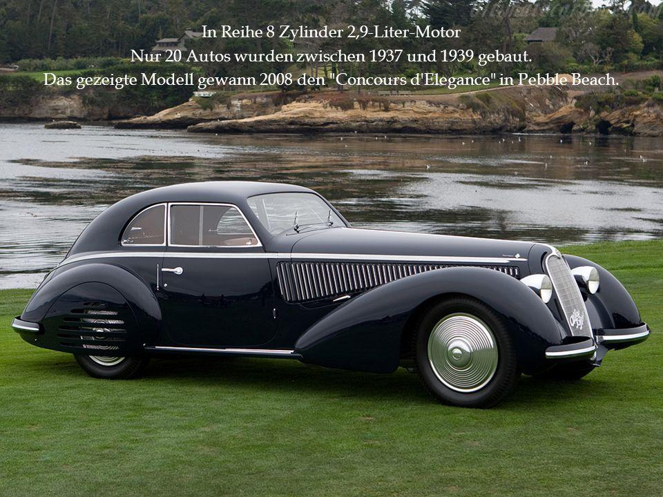 In Reihe 8 Zylinder 2,9-Liter-Motor Nur 20 Autos wurden zwischen 1937 und 1939 gebaut. Das gezeigte Modell gewann 2008 den