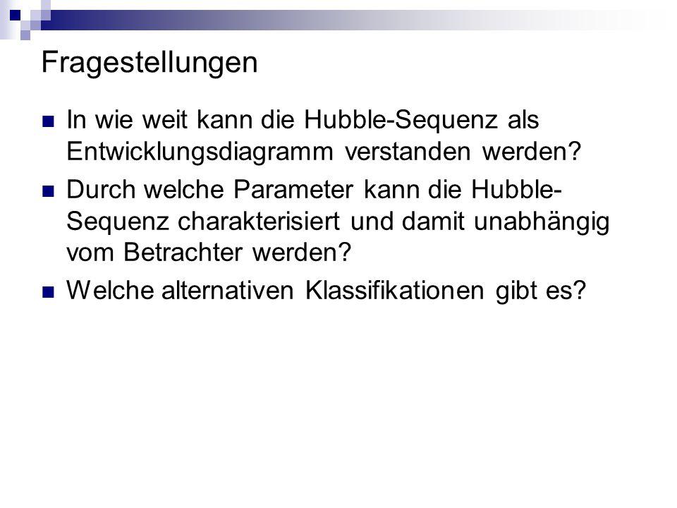Fragestellungen In wie weit kann die Hubble-Sequenz als Entwicklungsdiagramm verstanden werden? Durch welche Parameter kann die Hubble- Sequenz charak