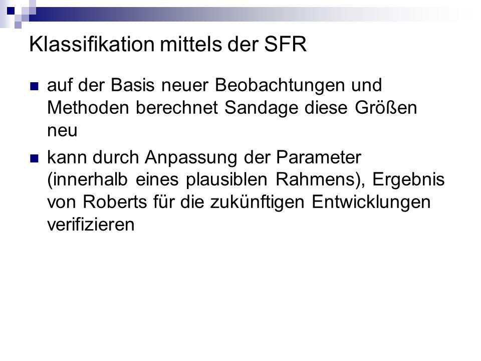 Klassifikation mittels der SFR auf der Basis neuer Beobachtungen und Methoden berechnet Sandage diese Größen neu kann durch Anpassung der Parameter (i