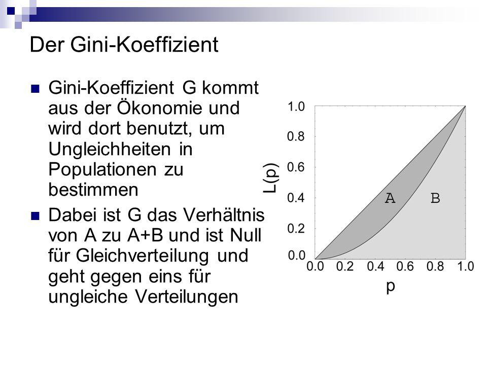 Der Gini-Koeffizient Gini-Koeffizient G kommt aus der Ökonomie und wird dort benutzt, um Ungleichheiten in Populationen zu bestimmen Dabei ist G das V