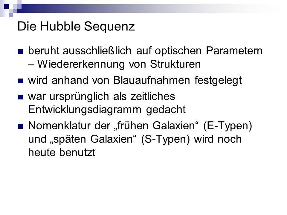 Die Hubble Sequenz beruht ausschließlich auf optischen Parametern – Wiedererkennung von Strukturen wird anhand von Blauaufnahmen festgelegt war ursprü