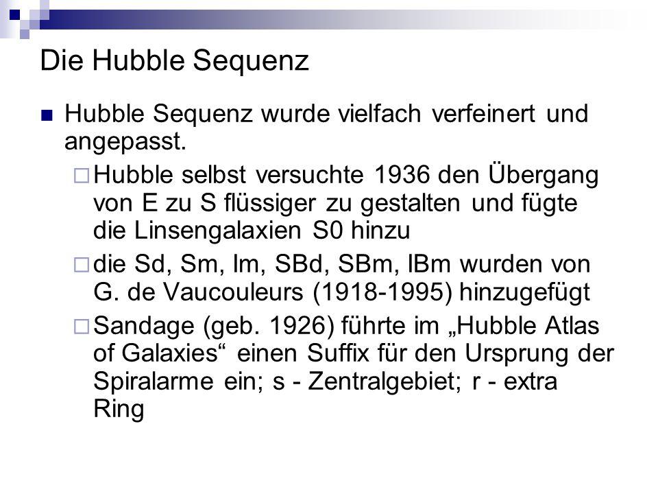 Die Hubble Sequenz Hubble Sequenz wurde vielfach verfeinert und angepasst.  Hubble selbst versuchte 1936 den Übergang von E zu S flüssiger zu gestalt