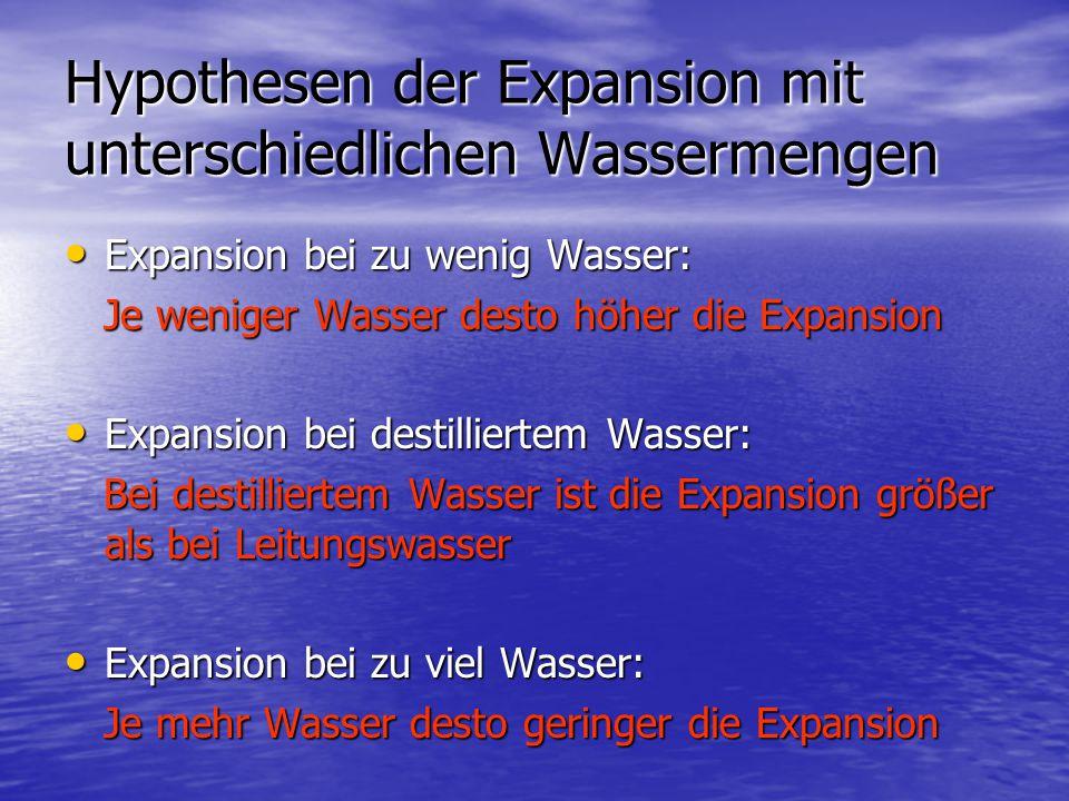 Hypothesen der Expansion mit unterschiedlichen Wassermengen Expansion bei zu wenig Wasser: Expansion bei zu wenig Wasser: Je weniger Wasser desto höhe