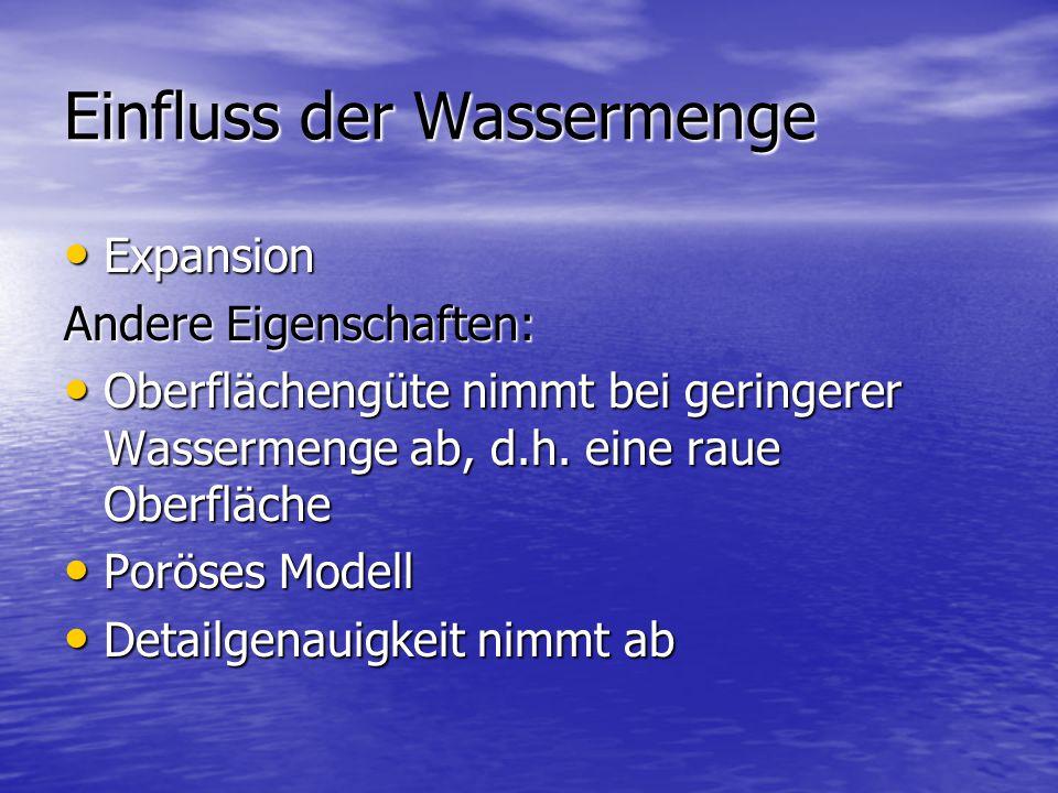 Einfluss der Wassermenge Expansion Expansion Andere Eigenschaften: Oberflächengüte nimmt bei geringerer Wassermenge ab, d.h.