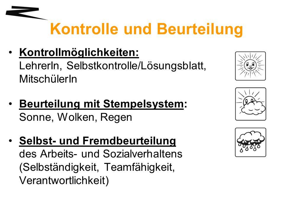 Kontrolle und Beurteilung Kontrollmöglichkeiten: LehrerIn, Selbstkontrolle/Lösungsblatt, MitschülerIn Beurteilung mit Stempelsystem: Sonne, Wolken, Re