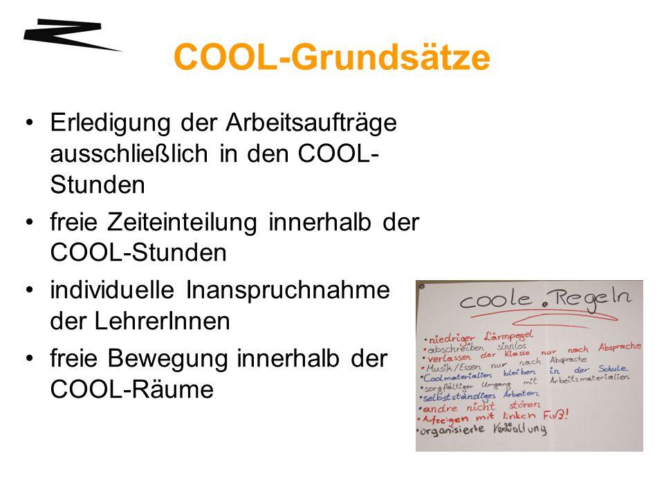 COOL-Grundsätze Erledigung der Arbeitsaufträge ausschließlich in den COOL- Stunden freie Zeiteinteilung innerhalb der COOL-Stunden individuelle Inansp