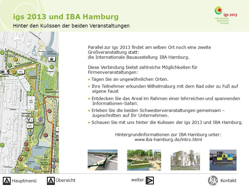 Hinter den Kulissen der beiden Veranstaltungen Parallel zur igs 2013 findet am selben Ort noch eine zweite Großveranstaltung statt: die Internationale Bauausstellung IBA Hamburg.