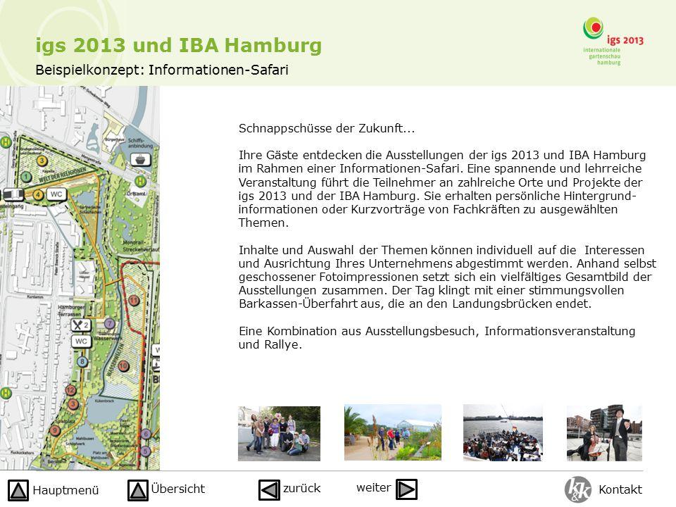 Beispielkonzept: Informationen-Safari igs 2013 und IBA Hamburg Schnappschüsse der Zukunft... Ihre Gäste entdecken die Ausstellungen der igs 2013 und I