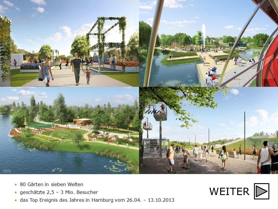 WEITER 80 Gärten in sieben Welten geschätzte 2,5 – 3 Mio. Besucher das Top Ereignis des Jahres in Hamburg vom 26.04. – 13.10.2013