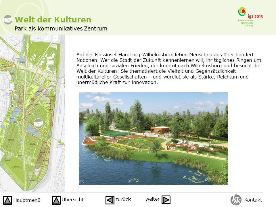 Park als kommunikatives Zentrum Welt der Kulturen Auf der Flussinsel Hamburg-Wilhelmsburg leben Menschen aus über hundert Nationen. Wer die Stadt der