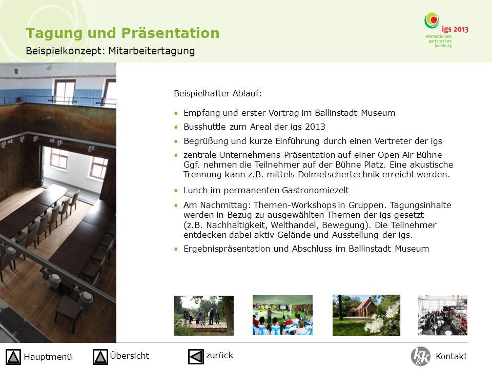 Beispielkonzept: Mitarbeitertagung Beispielhafter Ablauf: Empfang und erster Vortrag im Ballinstadt Museum Busshuttle zum Areal der igs 2013 Begrüßung