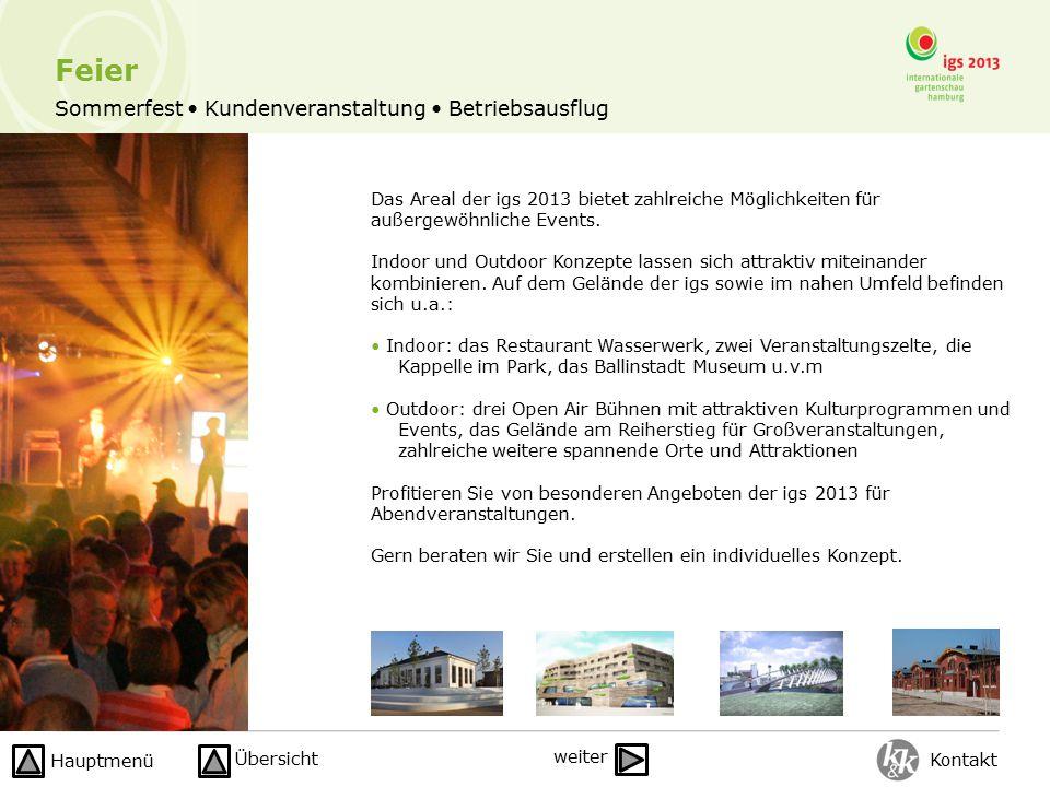 Sommerfest Kundenveranstaltung Betriebsausflug Das Areal der igs 2013 bietet zahlreiche Möglichkeiten für außergewöhnliche Events.
