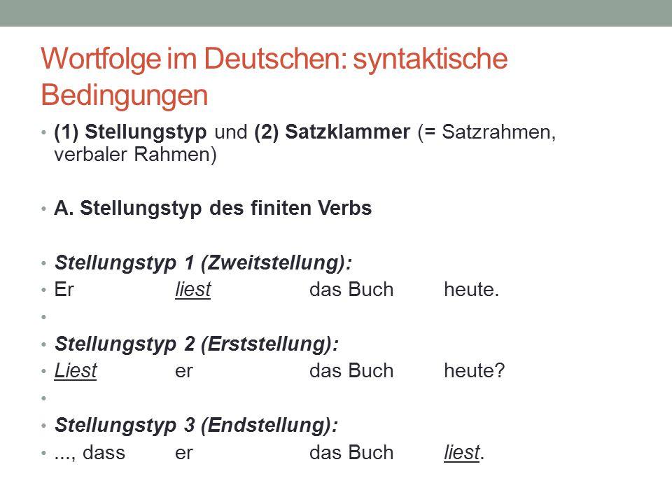 Wortfolge im Deutschen: syntaktische Bedingungen (1) Stellungstyp und (2) Satzklammer (= Satzrahmen, verbaler Rahmen) A. Stellungstyp des finiten Verb