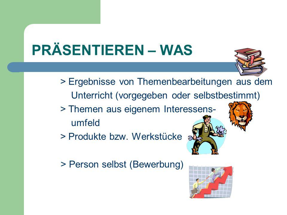 PRÄSENTIEREN – WAS > Ergebnisse von Themenbearbeitungen aus dem Unterricht (vorgegeben oder selbstbestimmt) > Themen aus eigenem Interessens- umfeld >