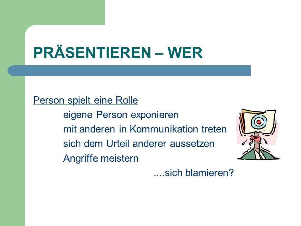 PRÄSENTIEREN – WER Person spielt eine Rolle eigene Person exponieren mit anderen in Kommunikation treten sich dem Urteil anderer aussetzen Angriffe me