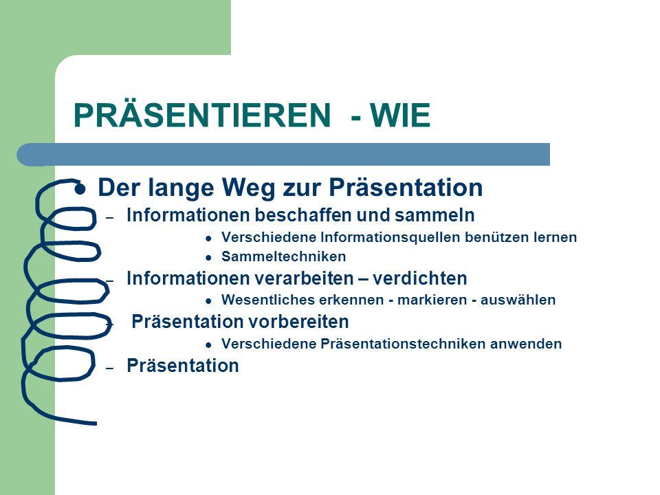 PRÄSENTIEREN - WIE Der lange Weg zur Präsentation – Informationen beschaffen und sammeln Verschiedene Informationsquellen benützen lernen Sammeltechni